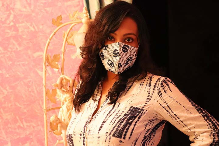 Sharmistha Chatterjee with Designer Mask