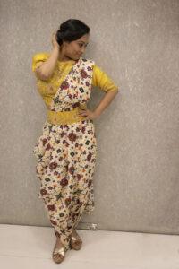 crop top and drape saree