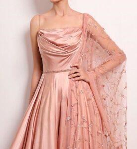 western satin gown drape
